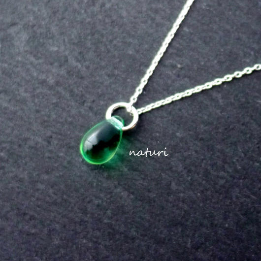 【rosee】glass drop necklace green