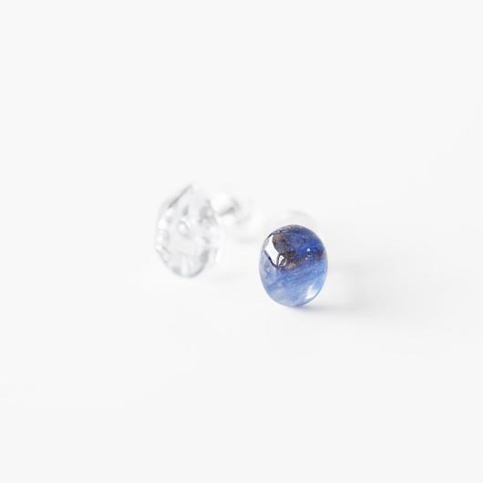 天然石ピアス/サファイア&ハーキマーダイヤモンド