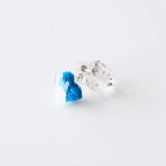 結晶ピアス/カバンサイト&ハーキマーダイヤモンド