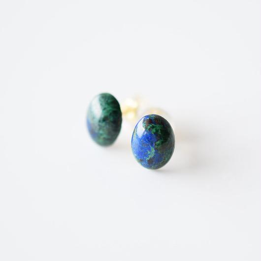 天然石ピアス/アジュル・マラカイト