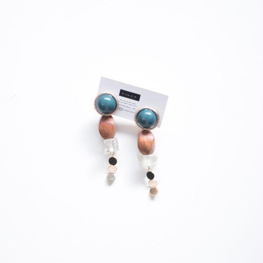 moon/wood - vintage beads earring