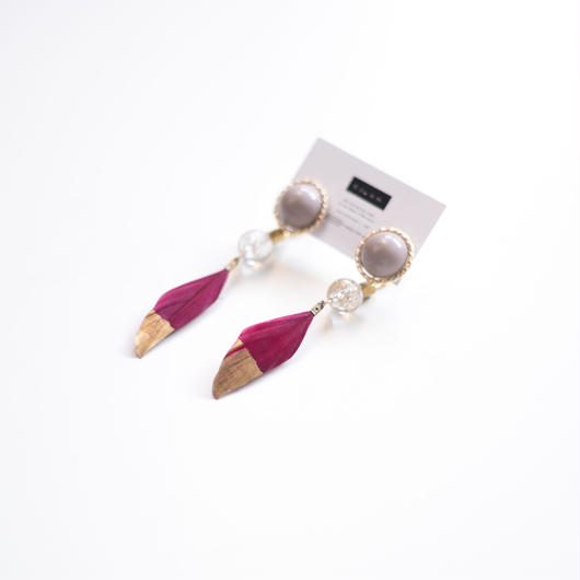 feather - vintage beads earring