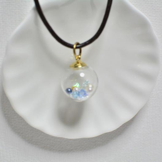 ガラスドーム  ペンダント G(アクアマリン×ゴールド)