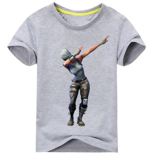 フォートナイト fortnite 子供服  DAB プリントTシャツ ユニセックス カジュアル半袖Tシャツ トップス 9色展開 バトルロワイヤル  グレイ