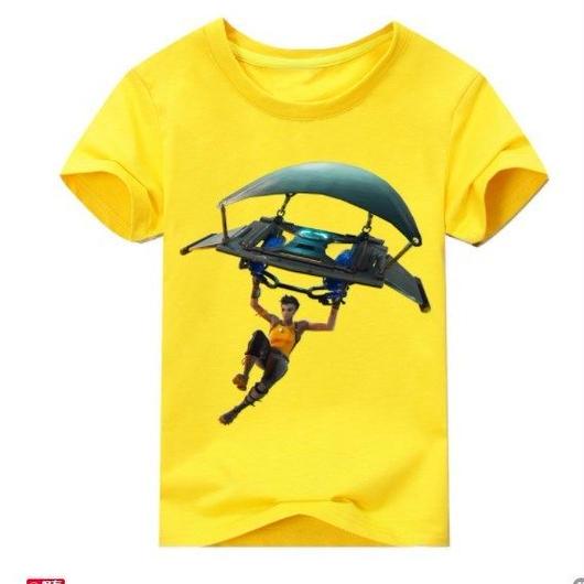 フォートナイト fortnite 子供服  グラインダー ステルスプリントTシャツ ユニセックス カジュアル半袖Tシャツ トップス 9色展開 バトルロワイヤル  イエロー