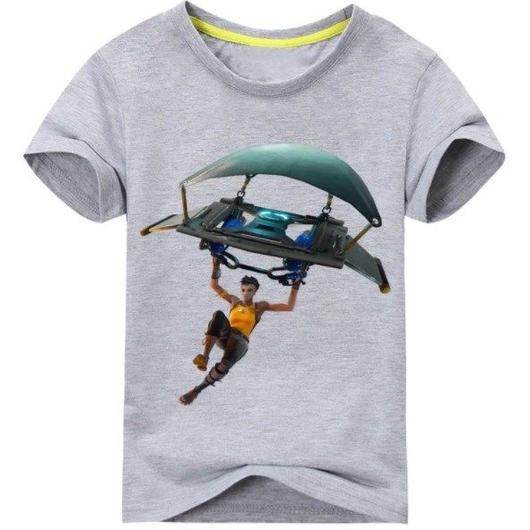 フォートナイト fortnite 子供服  グラインダー ステルスプリントTシャツ ユニセックス カジュアル半袖Tシャツ トップス 9色展開 バトルロワイヤル  グレイ