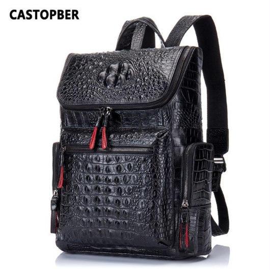 CASTOPBER 本革 ブラック メンズ バックパック リュック クロコダイル 学生 旅行バッグ デザイナー 高品質 ハイブランド