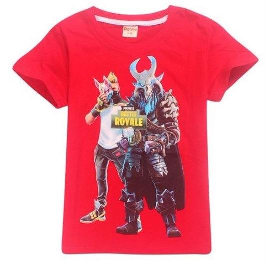 フォートナイト fortnite 子供服  プリントTシャツ ユニセックス カジュアル半袖Tシャツ トップス 4色展開 バトルロワイヤル  レッド