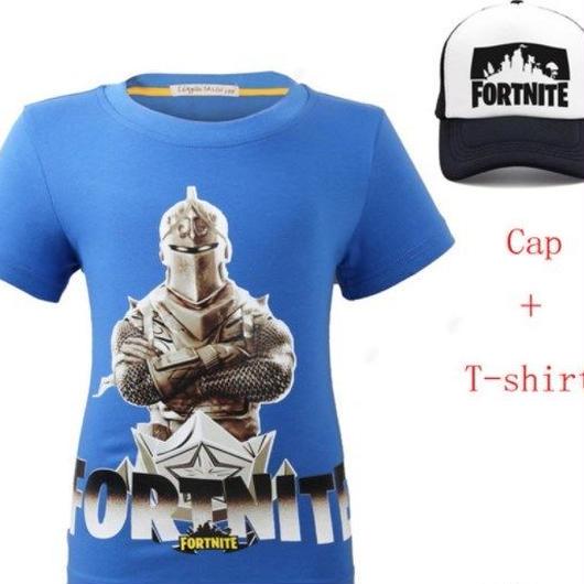 フォートナイト fortnite 子供服  Tシャツ キャップセット  ユニセックス カジュアル半袖Tシャツ トップス  ブルー
