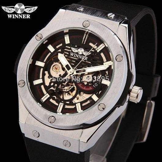 Winner メンズ腕時計 高級ブランド スポーツ カジュアル ミリタリー時計 自動巻風 スケルトン ラバーストラップ