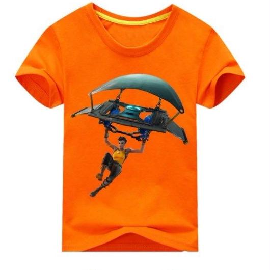 フォートナイト fortnite 子供服  グラインダー ステルスプリントTシャツ ユニセックス カジュアル半袖Tシャツ トップス 9色展開 バトルロワイヤル  オレンジ