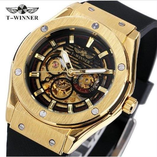 T-WINNER メンズ腕時計 海外トップブランド 高級腕時計 自動 高級ブランド 機械式 スケルトン