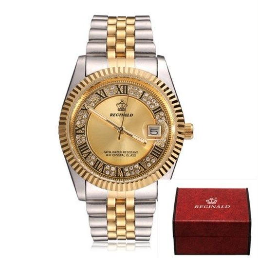 Reginald レジナルド メンズ高級腕時計 トップブランドラグジュアリー クォーツ時計 カレンダー オイスターオマージュ