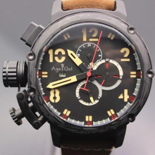 日本未発売 高級ブランド  Age Girl 自動巻き 機械式腕時計 レザーストラップ   クロノメーター  ブラック