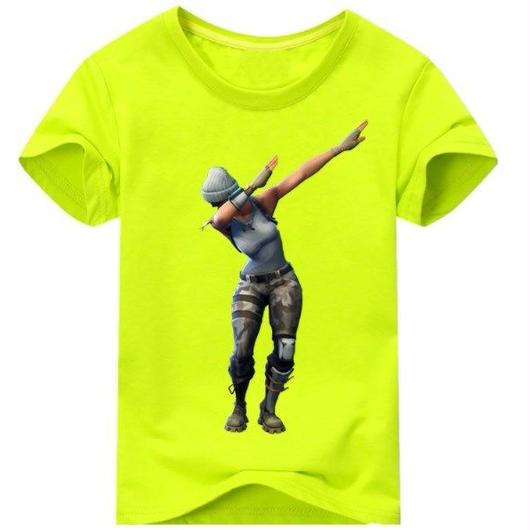 フォートナイト fortnite 子供服  DAB プリントTシャツ ユニセックス カジュアル半袖Tシャツ トップス 9色展開 バトルロワイヤル  ライトグリーン