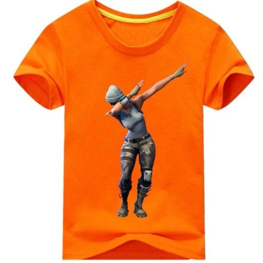フォートナイト fortnite 子供服  DAB プリントTシャツ ユニセックス カジュアル半袖Tシャツ トップス 9色展開 バトルロワイヤル  オレンジ