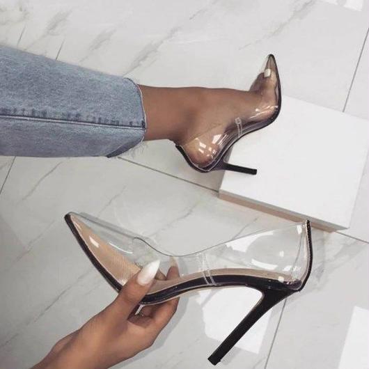【Perixir】 パーティーシューズ ウェディングシューズ クリア パンプス 透明な靴  コスプレ・ハロウィン・ガラスの靴のシンデレラなど、余興やイベント・パーティなどにも活躍★ハイヒール