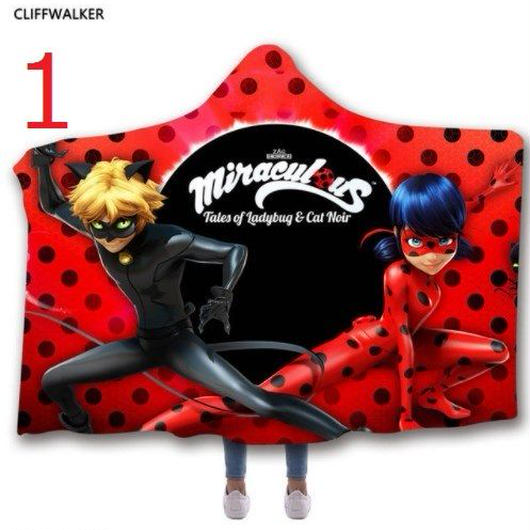 ミラキュラス レディバグ  シャノワール   3Dデザイン あったか毛布 フード付き ブランケット 子供サイズ /レディバググッズ