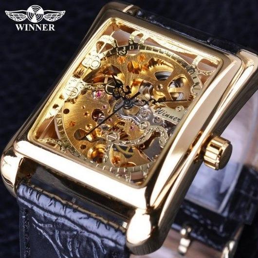 T-WINNER レトロカジュアルシリーズ デザイン スケルトン メンズ腕時計 海外トップブランド 高級機械式時計 ゴールド