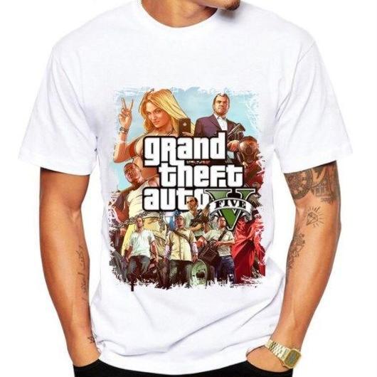 グランド・セフト・オート Tシャツ gta5 ゲームTシャツ  ロゴ ホワイト