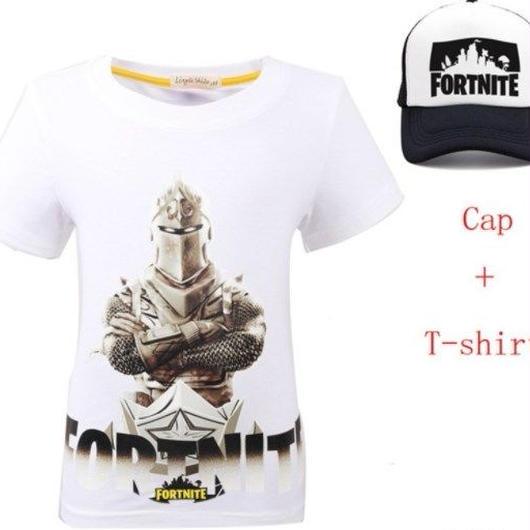 フォートナイト fortnite 子供服  Tシャツ キャップセット  ユニセックス カジュアル半袖Tシャツ トップス  ホワイト