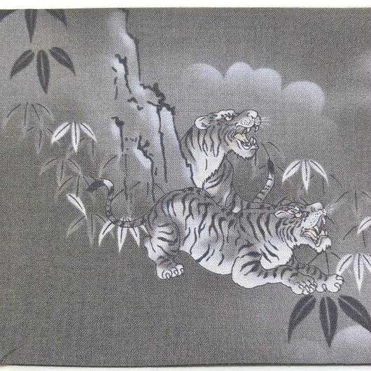 027GL-GWK-A 和調柄 竹と虎 (御朱印帳約16cmx11.5cm対応)