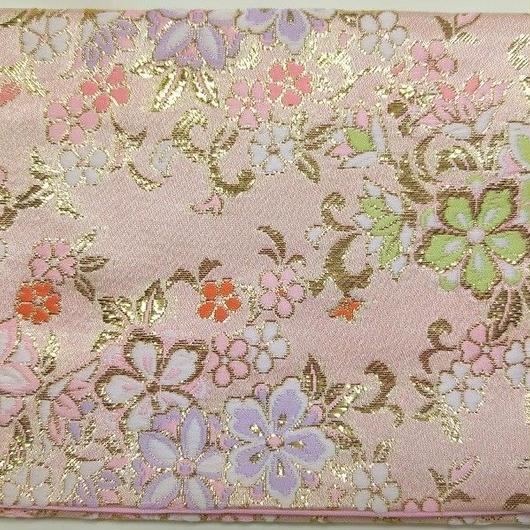049PI-LWM-B 金襴 花ざかり ピンク (約18.5cm×12.5cm御朱印帳対応)