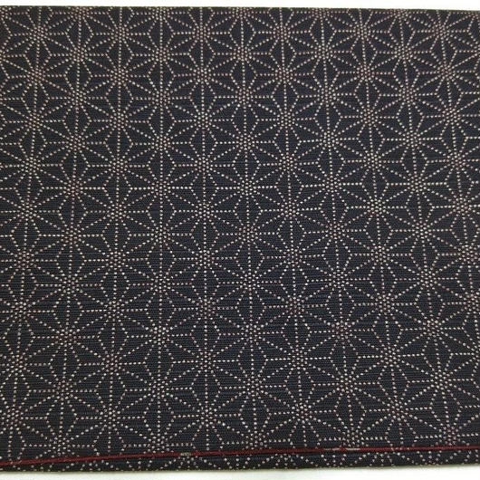 054BV-LWM-A 和柄プリント 麻の葉・小桜 リバーシブル 黒/紅(約18.5cm×12.5cm御朱印帳対応)