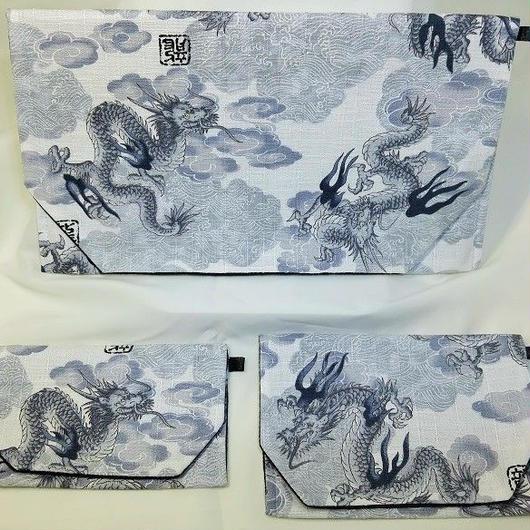 S06WH-LWM-A 龍と雲 白 セット(約18.5cm×12.5cm御朱印帳対応)