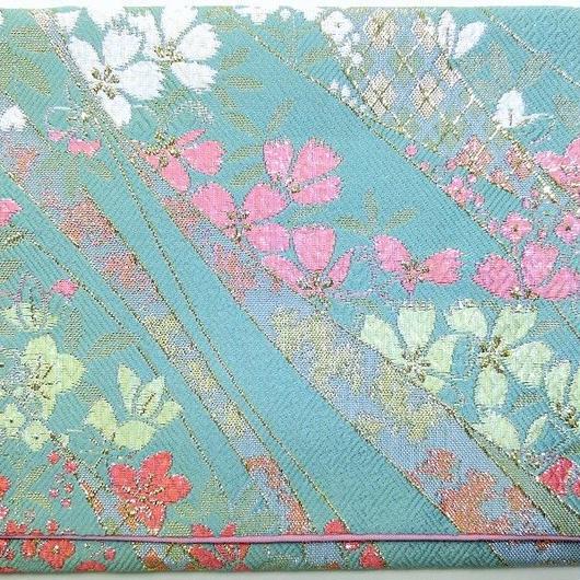002GR-GWK-A 金襴 佐賀錦調 金銀しだれ桜 セイジ (御朱印帳約16cmx11.5cm対応)