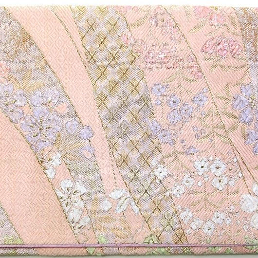 002PI-GWK-B 金襴 佐賀錦調 金銀しだれ桜 珊瑚色 (御朱印帳約16cmx11.5cm対応)