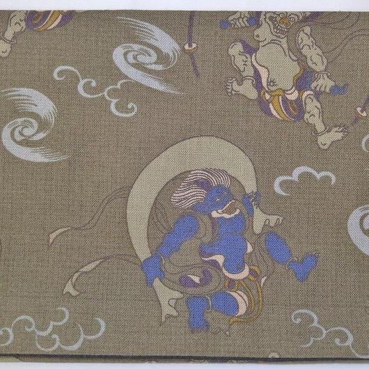 015BL-GWK-B 和調柄 風神・雷神 (御朱印帳約16cmx11.5cm対応)
