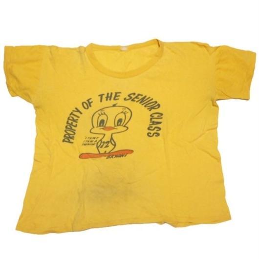 1970's トゥイーティー染み込みプリント T-shirts 実寸(M)