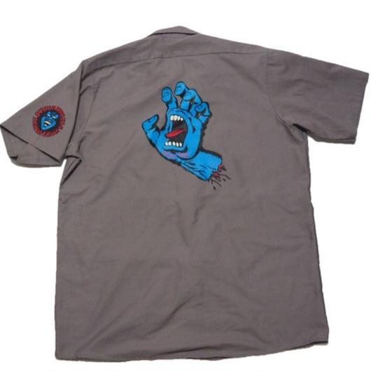 2000's SANTACRUZ スクリーミングハンド ワークシャツ     実寸(XL)