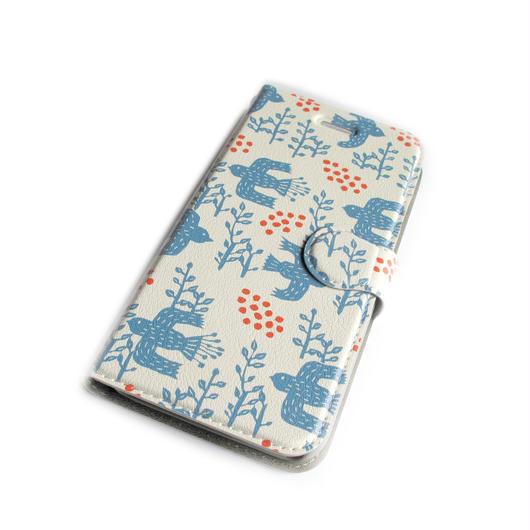 NOBORIYA iPhone6/6sプラス用 手帳型ケース 木の実とコトリ(ホワイト)