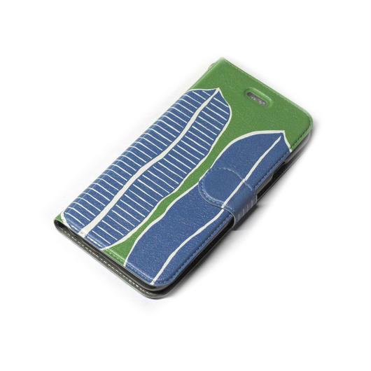 NOBORIYA iPhone7Plus用 手帳型ケース 南国の葉(green)