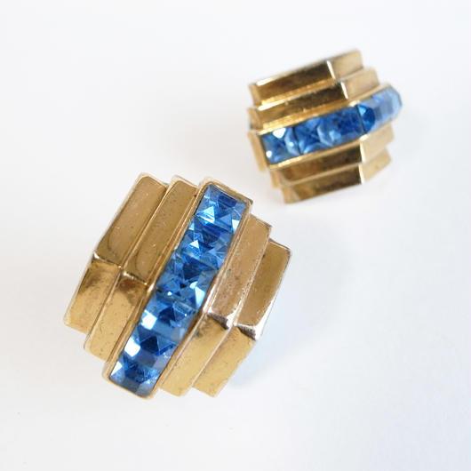 【Coro/コロ】1940s ペールブルー スクエアラインストーン ゴールドトーンメタル アールデコスタイル イヤリング/ヴィンテージ