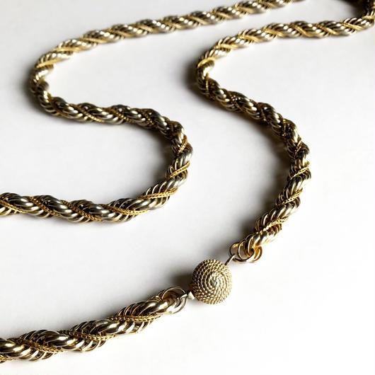 【Unsigned】ゴールドトーン ロープチェーン ネックレス/ヴィンテージ