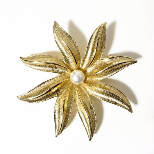 【Sarah Coventry/サラ・コベントリー】1960s ガラスパール ゴールドトーンメタル フラワーモチーフ ブローチ