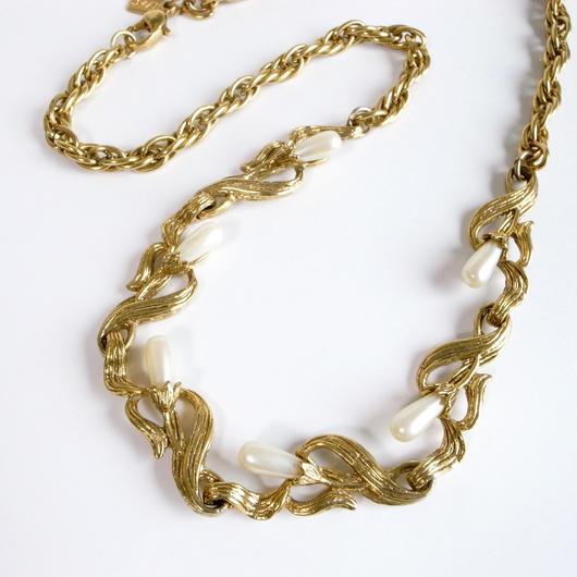 【1928】フェイクパール ゴールドトーン ボタニカルデザイン ネックレス/ヴィンテージ