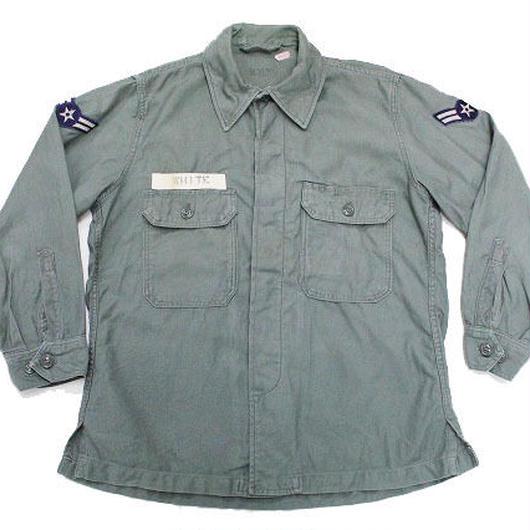 50's USAF SHIRT, UTILITY, COTTON, SAGE GREEN セージグリーン ユーティリティーシャツ パッチ(M位)