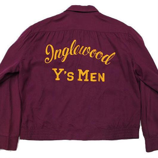 50's Unknow Chain Stitch Gabardine Jacket (L) チェーンステッチ ギャバジン ジャケット マルーン