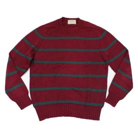 〜90's L.L.Bean Striped Cotton Sweater (L) LLビーン ボーダー コットンニット セーター アメリカ製
