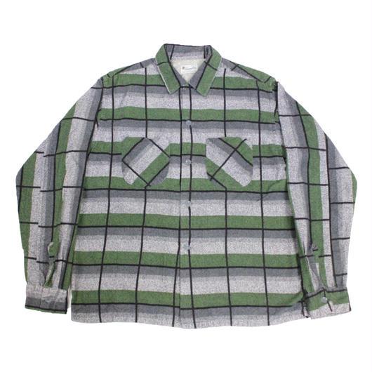60's Hampton PLAID COTTON PRINTED FLANNEL SHIRTS (M) ループカラー チェック コットン プリントフランネルシャツ