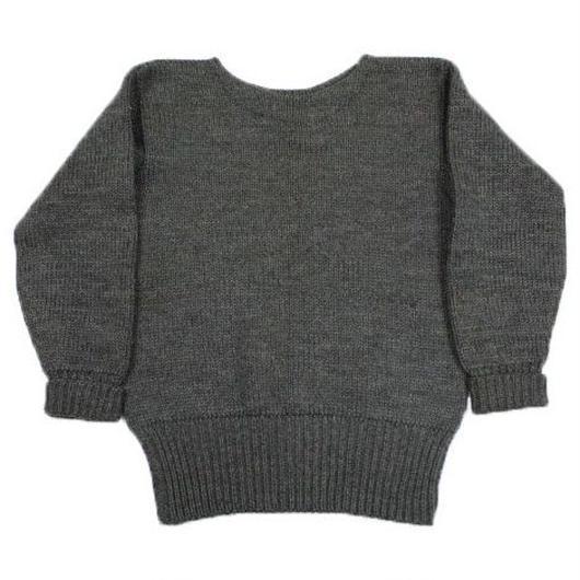 ~50's Unknow Boat Neck Knit Sweater Gray ローゲージ ボートネック ウール ニット セーター 灰