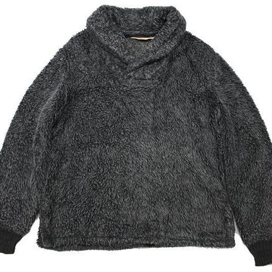 60's PETERS Fake Fur Shawl Collar Pullover Jacket (L) ピーターズ フェイクファー ショールカラー プルオーバー  ジャケット 黒灰