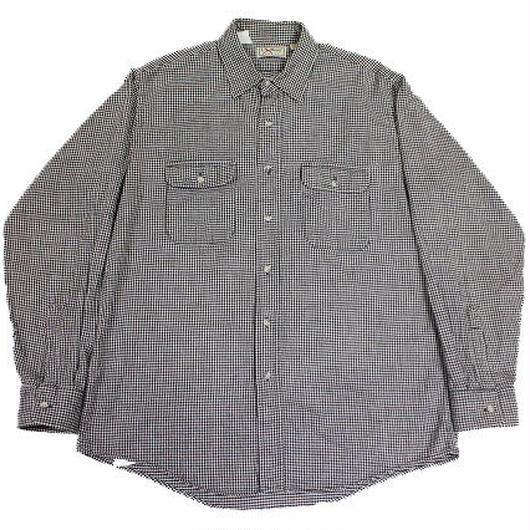 〜90's L.L.Bean Shepherd's Check Flannel SHIRT (L) LLビーン ギンガムチェック フランネルシャツ 黒×白