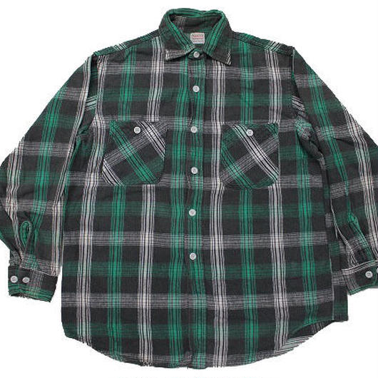 50's〜 PENNY'S PLAID HEAVY COTTON FLANNEL SHIRTS (M) ペニーズ ヘビーネル 緑
