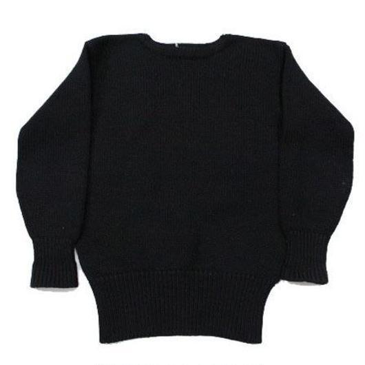 30's SPALDING Boat Neck Knit Sweater Plain BLK スポルディング ローゲージ ボートネック ウール ニット セーター 黒