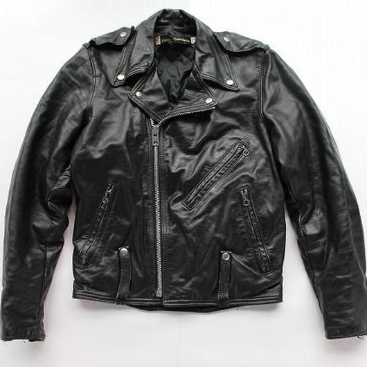 70's〜80's Harley-Davidson Motorcycle JACKET Black (36REG)ハーレーダビッドソン Wライダースジャケット 黒